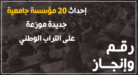 رقم وإنجاز..إحداث 20 مؤسسة جامعية جديدة موزعة على التراب الوطني