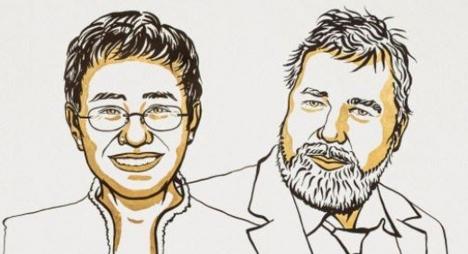 كافحا من أجل حرية التعبير.. نوبل للسلام للصحافيين ماريا ريسا وديمتري موراتوف